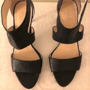 BCBG Shiney Snake Skin textured black heels